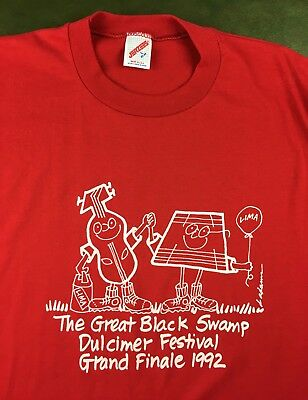 Vintage Mens L 1992 Great Black Swamp Dulcimer Festival Deadstock NOS T-Shirt