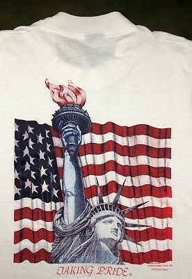 Vintage Mens XL 1986 80s Screen Stars Statue Liberty Freedom Hope White T-Shirt