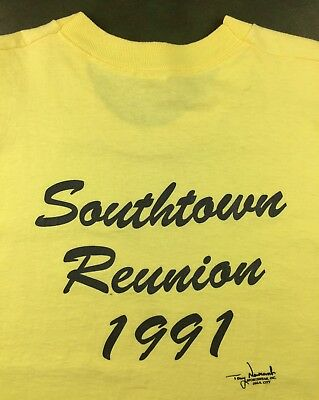 Vintage Mens L 1991 90s Yellow Solid Blank Fruit of the Loom Reunion T-Shirt