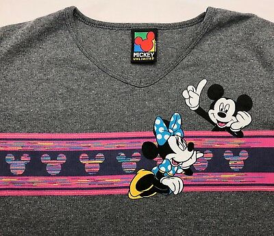 e3507f4a9 Vintage Women's S 90s Walt Disney Mickey Minnie Mouse Unlimited Gray T-Shirt  NOS