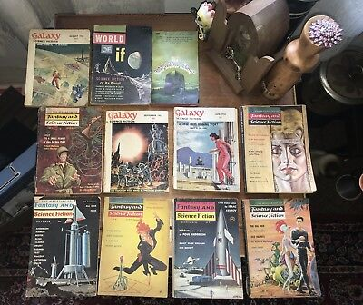 Worlds of IF Science Fiction Galaxy Magazine Lot Vintage Pulp 1950's 1960's Pulp