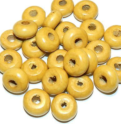 W227fc Light Brown 18mm Rondelle Wood Beads 25pc