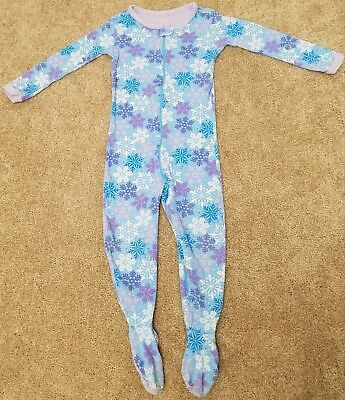 Girls Size 3T Snowflake Blue One Piece Footed Sleeper Pajamas By The  Children's