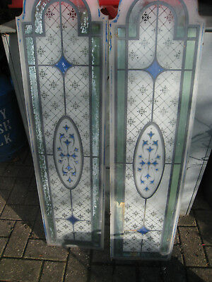 Two  Arched Glass Panels Stained  Painted Glass