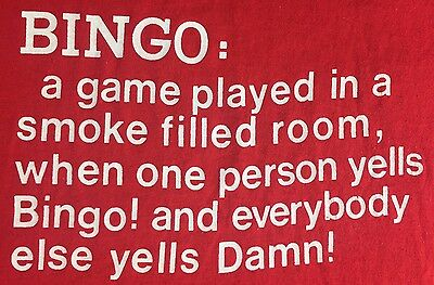 Vintage Mens L 80s BINGO Game Screen Stars Red Wordy NOS Funny T-Shirt