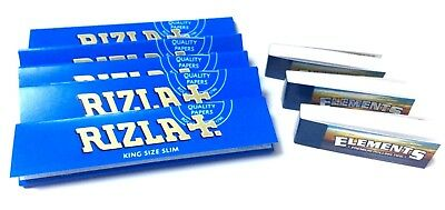 5 x RIZLA BLUE KING SIZE SLIM CIGARETTE SMOKING ROLLING PAPERS + 3 TIPS BOOKLETS