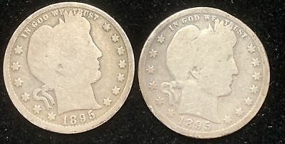 Lot of 2 Barber Silver Quarters 1895-P & 1895-O  Circulated