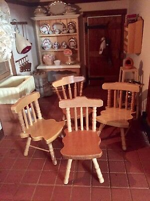 1 12th scale  WOOD PINE KITCHEN FOUR  CHAIRS  /country   DOLLSHOUSE