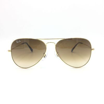 New Ray-Ban RB3025 112/85 Gold Aviator Sunglasses w/ Gradient Brown Lenses 58mm
