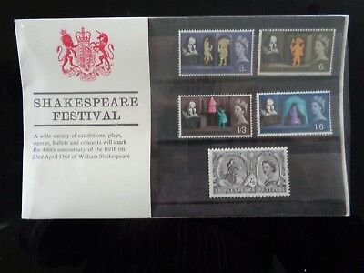GREAT BRITAIN 1964 SHAKESPEARE FESTIVAL 5v MINT PRESENTATION PACK CV £30