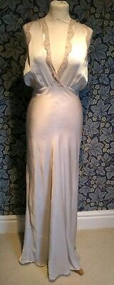 Vintage 1940s Art Deco Nightdress Full Length Bias Cut Satin And Lace Long...