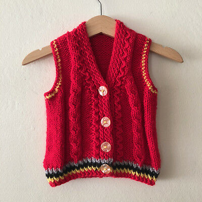 Vintage Baby Boys Red Knit Sweater Vest Size 6 months