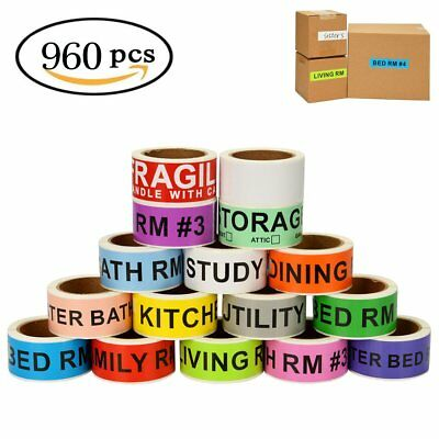 960 Count Home Moving Box Labels Supplies Color Coding Packing Stickers 16 Rolls