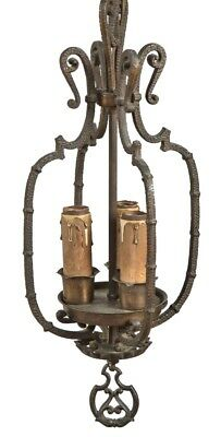 Restored 1920S Spanish Revival Style Ornamental Cast Brass Chicago Bungalow Pend