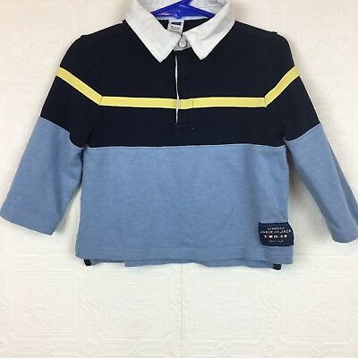 Janie and Jack 18 to 24 Months Boys Polo Shirt Long Sleeve Blue Collar #384