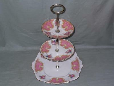 Vintage Imperial Bone China 3-Tier Hostess Cake Plate Stand Pink Floral