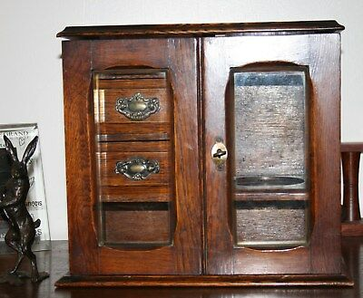 Antique Oak SMOKERS CABINET with bevelled glass doors