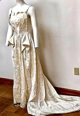VINTAGE 1950s WEDDING DRESS--FULL LNGTH. DAMASK WITH TRAIN & MATCHING JACKET--S