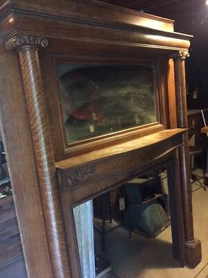 ANTIQUE TIGER OAK FIREPLACE MANTLE COLUMNS SHELF and MIRROR