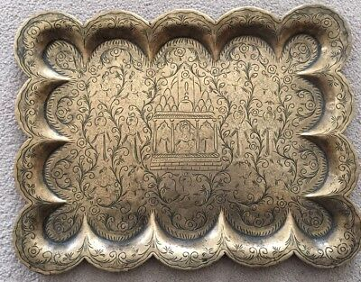 Beautiful Vintage/Antique. Orential / Indian Brass Tray- Palace Scene?