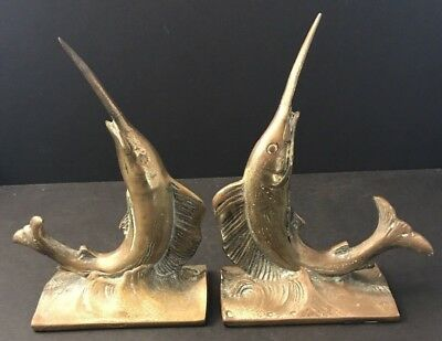 Vintage Brass Marlin Swordfish Book Ends Pair Set of 2 Bookends Nautical Fish