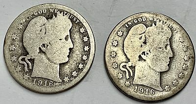 Lot of 2 Barber Silver Quarters 1916-P & 1916-D  Circulated