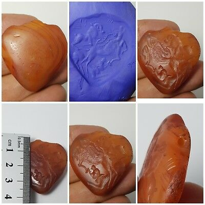 Very rare old agate historical intaglio heart amuelt