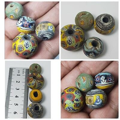Very old mosaic face  glass  beads lot