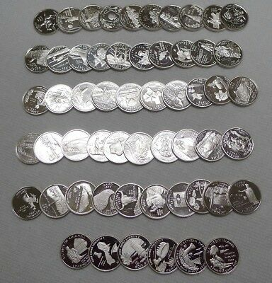 Complete Set 1999-2009 SILVER Proof State Quarters & DC/Territories! 56 Coins!!!