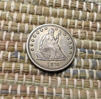 1876-S Seated Liberty Quarter / Very Sharp XF/AU+++ / Original Uncleaned Coin