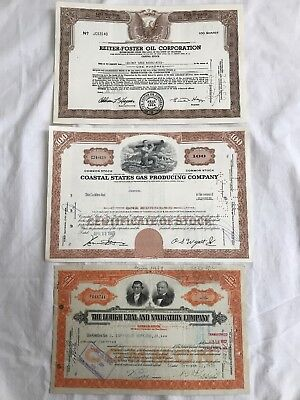 3 Old Stock certificates, Oil Gas And Coal 1930, 50, 60