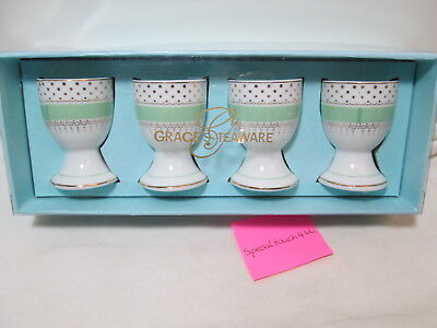 Grace's Teaware EASTER Mint Green & Gold Dots Porcelain 4 pc Egg Cups Holder NEW