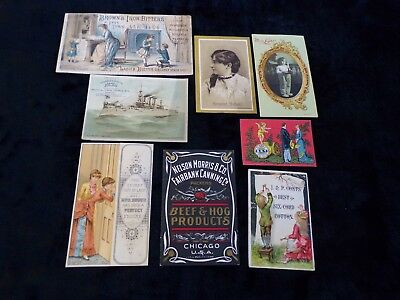 8 Antique Victorian Advertising Trade Cards Brown's Iron Bitters Beef & Hog
