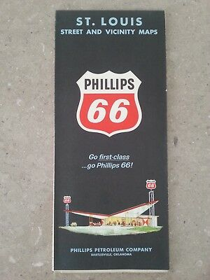 Vintage Phillips 66 Map - St Louis Missouri MO Streets and Vicinity