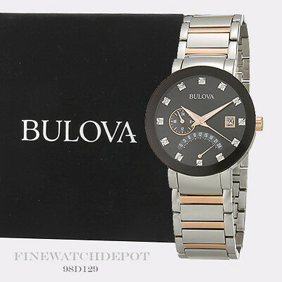Authentic Bulova Men'sTwo-Tone Stainless-Steel Date Display Diamond 98D129