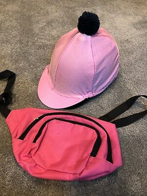 Pink Riding Hat Cover & Pink Bum Bag