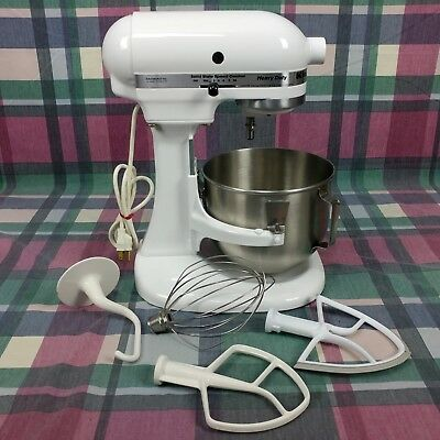 Kitchen Aid K5ss Heavy Duty Mixer White With 3 Attachments 4 Quart
