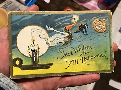 Antique Halloween Postcard Witch Black Cat Pumpkin Skull
