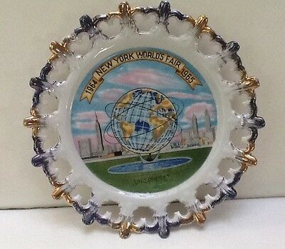 """1964-65 New York World's Fair 8"""" UNISPHERE Collector Plate - Made In Japan"""