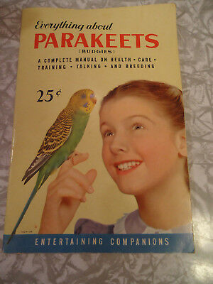 Vintage pet care book, Everything about Parakeets, 1953, collectible nonfiction