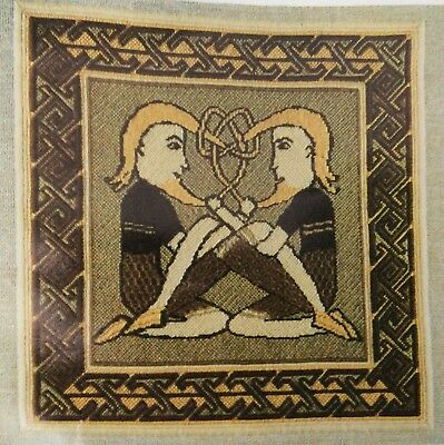Rare Vintage Iona Tapestry Cushion Kit Celtic Beard Pullers Part Started