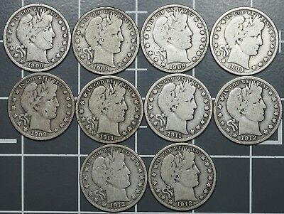 1906 - 1912 P, D & S Barber Silver Half Dollars 50c, Different Full Rim Coins