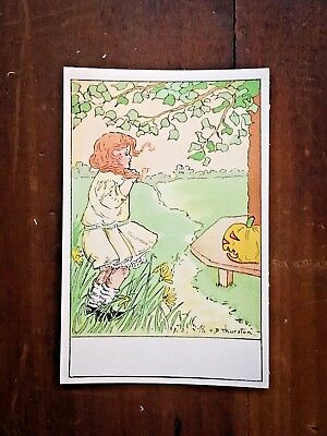 Vintage Unused Gibson Halloween Place Card Parade Jack-o-Lantern, Little Girl