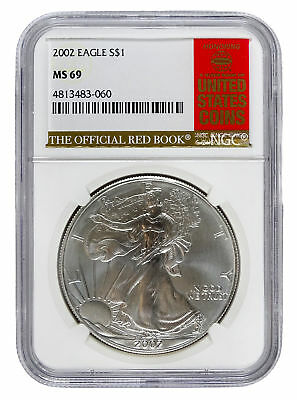 2002 Silver Eagle S$1 with Official Red Book Label - NGC MS 69