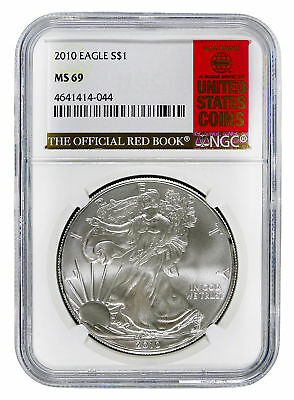 2010 Silver Eagle S$1 with Official Red Book Label - NGC MS 69