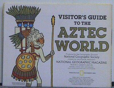 Vintage 1980 National Geographic Map of Aztec World