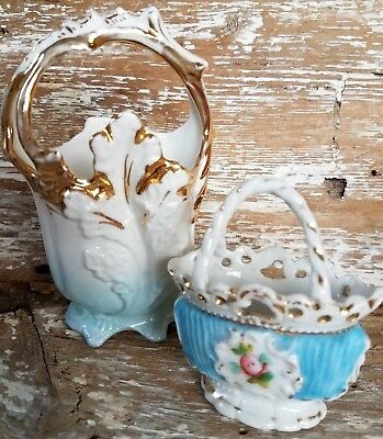 Small Antique Porcelain Basket With Handle Lot of 2 Match Toothpick Holder Vase