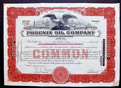 Phoenix Oil Company Delaware Stock Certificate 300 Shares Dated 1936