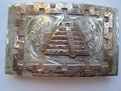 .925 Sterling Silver Aztec Temple Buckle