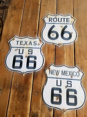 """  Route 66""   Texas 66 "" and ""  New Mexico  ""vintage porcelain Steel road sign."